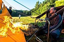Horkovzdušný balon, příprava, hořák, plamen, pilot