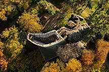 Hrad Valečov, letecky, podzim