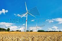 Větrná elektrárna, pole, obilí