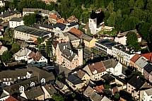 Český Dub, náměstí, letecky
